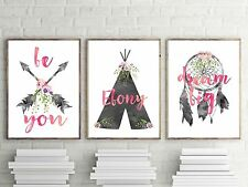 Baby, Girls Boho Tribal Nursery or Bedroom Wall Art Decor Print Set with Persona