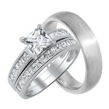 His and Her 2 Carat Princess Cut CZ Engagement Wedding Ring Set for Him & Her