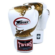 Twins Special Muay Thai White-Gold Dragon Boxing Gloves