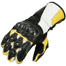 Motorcycle Gloves Leather motorcycle gloves Biker Leather gloves Yellow/White-XL