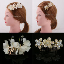 Crystal Pearl Hairpin Flower Diamante Hair Clips Comb Wedding Women's Jewelry