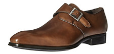 NIB Mens Mezlan Orville Classic Plain Toe Leather Monkstrap Shoes in Tan
