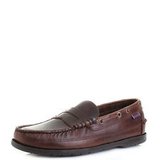 Mens Sebago Sloop Brown Oiled Waxy Brown Classic Leather Loafer Shoes Shu Size