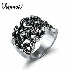 Viennois Silver Color Vintage Cocktail Rings for Woman Rhinestone Paved Lucky Ch
