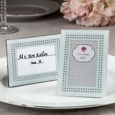 Black frosted Glass picture frame / placecard holder - Anniversary Favors