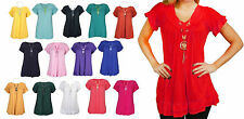 Gypsy Ladies Womens Frill Necklace Tunic V Neck Summer Tops Plus Sizes 8-26