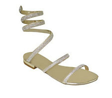 Ciara Nicky Flat Diamante Ankle Wrap Round Ankle Strap Women Gold sandals