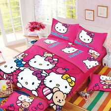 Hello Kitty Duvet Bedding Size Cover Set Girls Kids Pink Sets 4pc Bed Sheet Ful