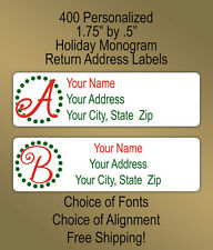 400 Personalized Whismical Christmas Monogram Printed Return Address Labels