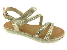 LADIES FLAT FAUX LEATHER BUCKLE UP STRAPPY SANDALS GOLD SIZE 3-8
