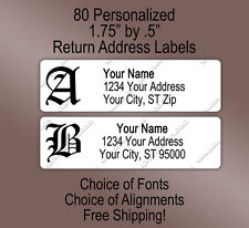 80 Personalized Printed Old English Gothic Monogram Return Address Labels