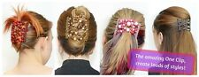 Magic Wooden EZ Stretchy Double Clips Hair Slide Comb Ladies Party Beauty Design