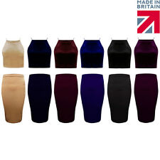 Womens Ladies Plain Velvet Midi Stretch Bodycon Party Skirt Sizes 8-14
