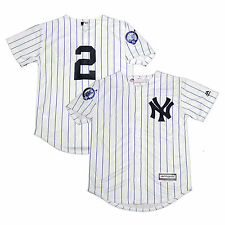 DEREK JETER NY YANKEES MAJESTIC YOUTH NO NAME HOME #2 RETIREMENT PATCH JERSEY