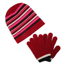 New CTM Girls' Striped Beanie Hat and Gloves Winter Set