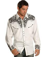 Scully Men's Pewter-Tone Embroidery Retro Western Shirt - P-634 Pewter