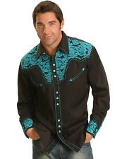 Scully Men's Turquoise-Hued Embroidery Retro Western Shirt - P-634 Turquoise
