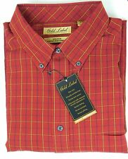 NWT Gold Label Roundtree & Yorke No-Iron Long Sleeve Red Check Men's Shirt 2XB