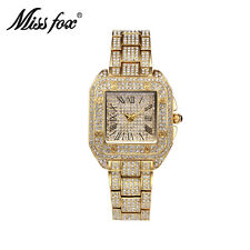 Luxury Crystal Diamond Square Watch Women Ladies Bracelet Gold Quartz Wristwatch