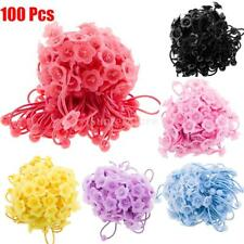 100pcs Girl Flower Bowl Hair Ropes Elastic Rubber Bands Hair Accessories