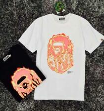 Unisex Bape Red Flame Icon Monkey Head Pattern Casual A Bathing Ape R-Neck TEE