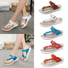 Women Buckle Toe Beach Shoes Summer Thong Sandals Flat Casual Flip Flop Size 3-7