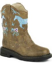 Roper Toddler-Girls' Turquoise Glitter Horse Light-Up Cowgirl Boot Round Toe Tan
