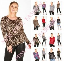 NEW WOMENS LADIES CASUAL BASIC ANIMAL LEOPARD PRINT LONG SLEEVE T SHIRT TOP 8-16