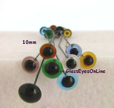 7 PAIR 9mm to 12mm Glass Eyes Wire Mix Colors Teddy bear, Doll, Needle Felt  201