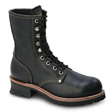 """Mens Black 9"""" Logger Oiled Leather Steel Toe Work Boots BAT-901 Size 5-13 (D, M)"""