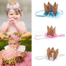Cute Baby Girls Lace Crown Flower Princess Glitter 1st Birthday Party Headband