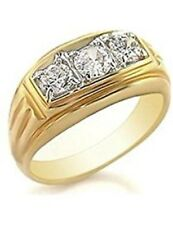 TK946G MANS 3 STONE 3CT SIMULATED DIAMONDS MENS RING pinky SIGNET all sizes