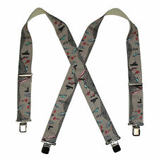 New CTM Men's Elastic Clip-End 2 Inch Fisherman Suspenders
