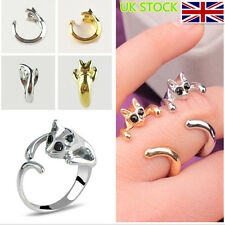 Cute Cat Shaped Ring With Rhinestone Eyes Adjustable and Resizeable Costume Ring