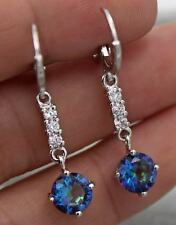 18K White Gold Filled- 1.5'' Round Blue MYSTICAL MYSTIC Topaz Lady Hoop Earrings