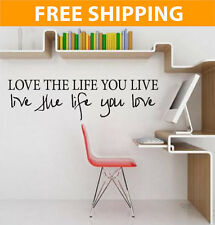 Love The Life You Live Bob Marley Vinyl Quote Wall Decal Home art Sticker 2003