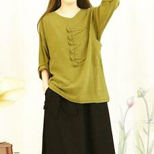 Womens Chinese Long Sleeve Summer Cotton Linen Loose T Shirt Retro Blouse Casual