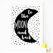 Nursery Bedroom Decor Wall Art Print-To The Moon & Back- Baby, Boys, Girls