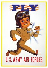 Retro World War II Army Air Forces Corps FLY Recruiting Stan Ekman Poster