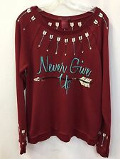 Cowgirl Tuff Red Burnout Sweatshirt w/Crosses, Style H00461