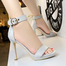 Chic Open Toe Sandal Ankle Strap High Heel Buckle Stiletto Platform Womens Shoes