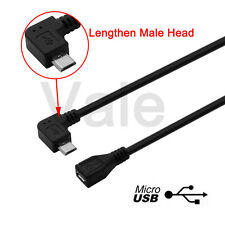 90° Left Angle Micro USB Male To Female Cable Data Sync Charger Extended Adapter