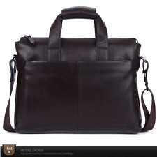 Men's Genuine Leather Briefcase Handbag Business Laptop Shoulder Messenger soft