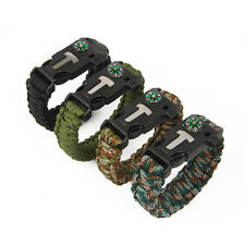 New Outdoor Rope Paracord Survival Bracelet Flint Fire Starter Compass Whistle
