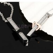 """Forever Love"" Carved 316L Stainless Steel Couple Pendant Necklace for Women Men"