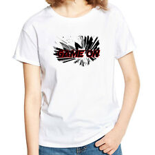 Stylish Women Game Letter Print Tee Shirt Summer Short Sleeve T-shirt Top Candid