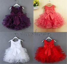 Baby Flower Girls Wedding Party Bridesmaid Christening Bow Dress SZ 0-24 Months
