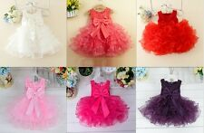 Flower Girls Princess Bow Tutu Skirt Toddler Baby Wedding Party Pageant Dresses