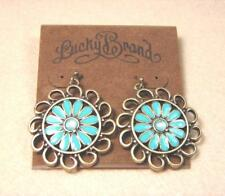 LUCKY BRAND LOTUS FLOWER CRYSTAL EXQUISITE VINTAGE GOLD HOOK PIERCED EARRINGS