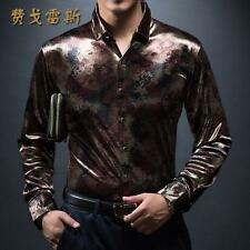 Mens Luxury New Homme highquality Fashion silk Black Golden Print Leopard shirts